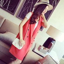 New 2015 Fashion Pink Solid Long Style Women s Suit Vest Ladies Double Breasted vests Sleeveless