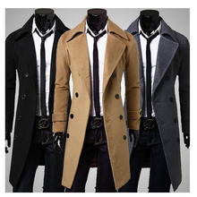S590 2015 HOT fashion new long men's trench coat double breasted winter overcoats Big yards mens wool double breasted coat(China (Mainland))