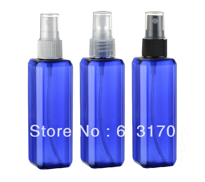 100ml plastic Empty spray bottle pet perfume bottles refillable cosmetic packing container blue wholesale/retail free shipping(China (Mainland))