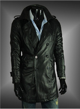 2015 British style mens leather trench black coat double breasted high quality washed leather classic long mens coat length XXL(China (Mainland))