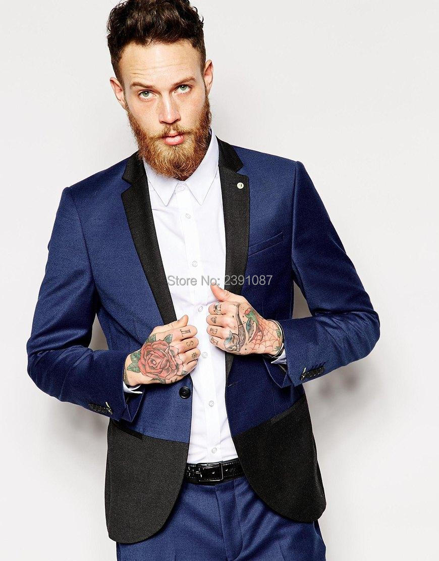 Wholesale Navy Blue Slim Fit Tuxedo Suits With Black