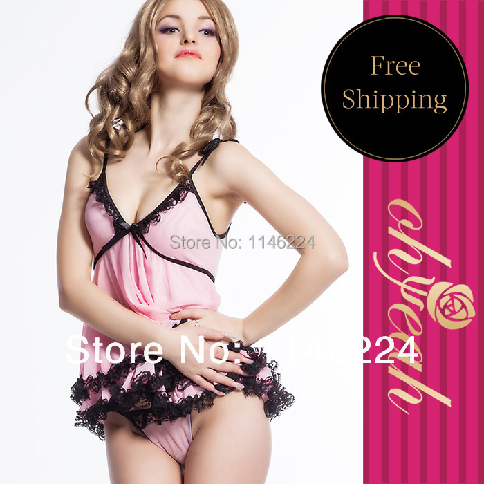 R7445 Top selling high quality sleepwear brand new super deal babydoll lace fringe pink short strappy sexy babydolls for women(China (Mainland))