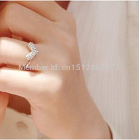 wholesale factory prices Shiny new fashion style rhinestone jewelry love adjustable ring for women free shipping