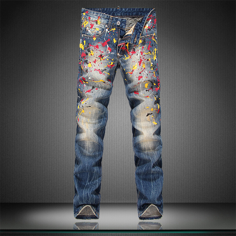 Super star style top quality printed men jeans fashion colorful printed cotton denim jeans men night club slim washed mens jeans