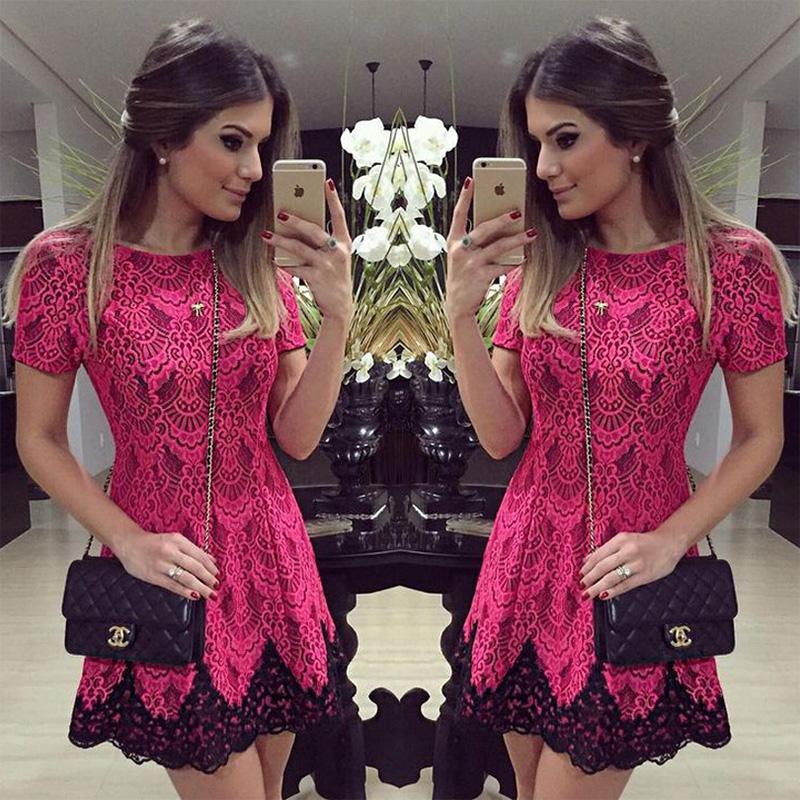 Vestido de festa Embroidery 2016 summer elegant ladies black lace crochet red short dress high waist women party dresses DR742