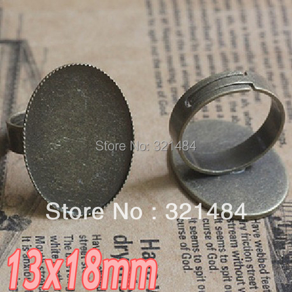 200pcs Antique bronze brass metal adjustable RING BLANK BASE TRAY BEZEL 13x18mm Oval Teeth cabochon setting