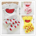 Retail 3 pcs/set 2014 spring summer fashion sport kids clothes sets cartoon T-shirt + print children pants girls clothing sets