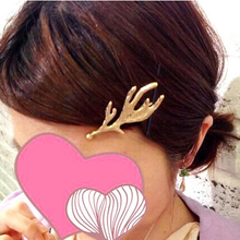 2014 Japan New Style Hairpins Gold Antler Barrettes Hair Accessories for Women 2pcs/lot
