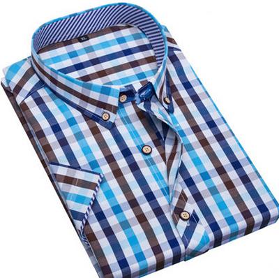 Brand Men Shirt Short Sleeve Plaid Shirts Men s Clothing Casual Shirt Men Summer Style Mens