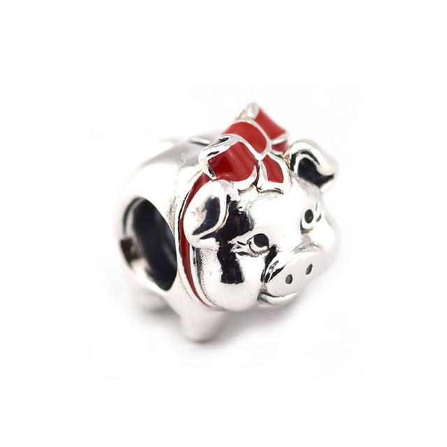 925 серебряные ювелирные изделия бусины Fit пандора браслет DIY мода ювелирных изделий копилку черный и красной эмалью шарм