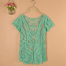 2016 Summer New Sheer Vintage Embroidery Short Sleeve Scoop Neck Casual Street Wear Women Lace Blouses Tops Blusa Green (China (Mainland))