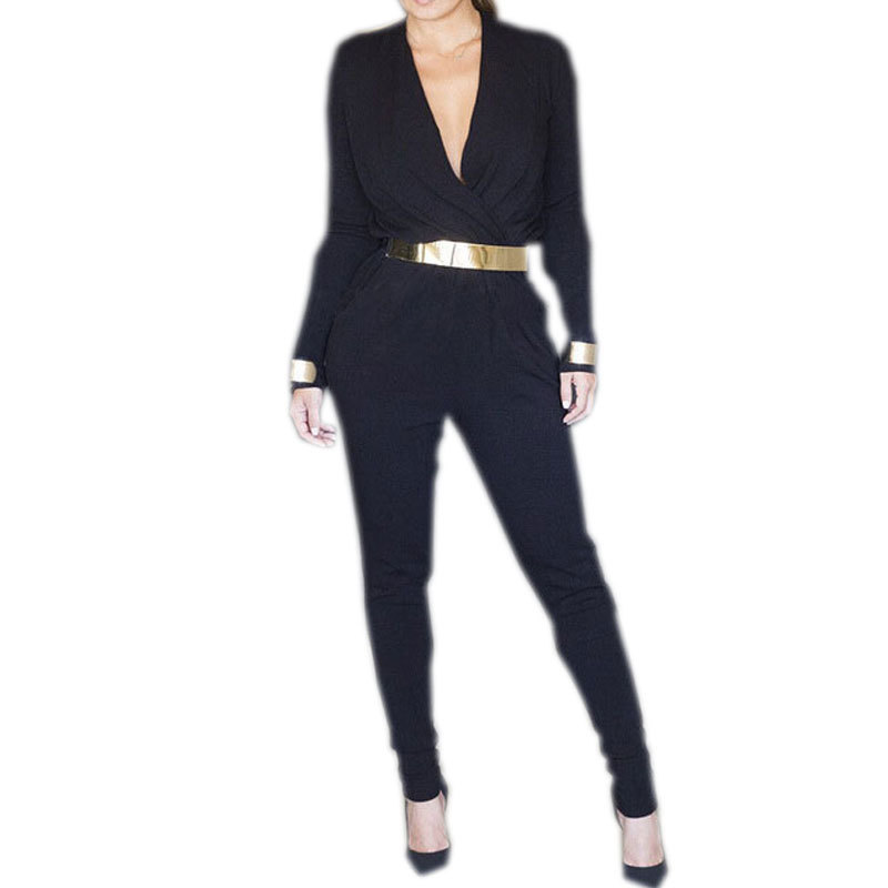 Long Rompers Womens Jumpsuit 2014 Black Jumpsuits For Women Black Long Sleeve Jumpsuit Plus Size Women Casual Clothing