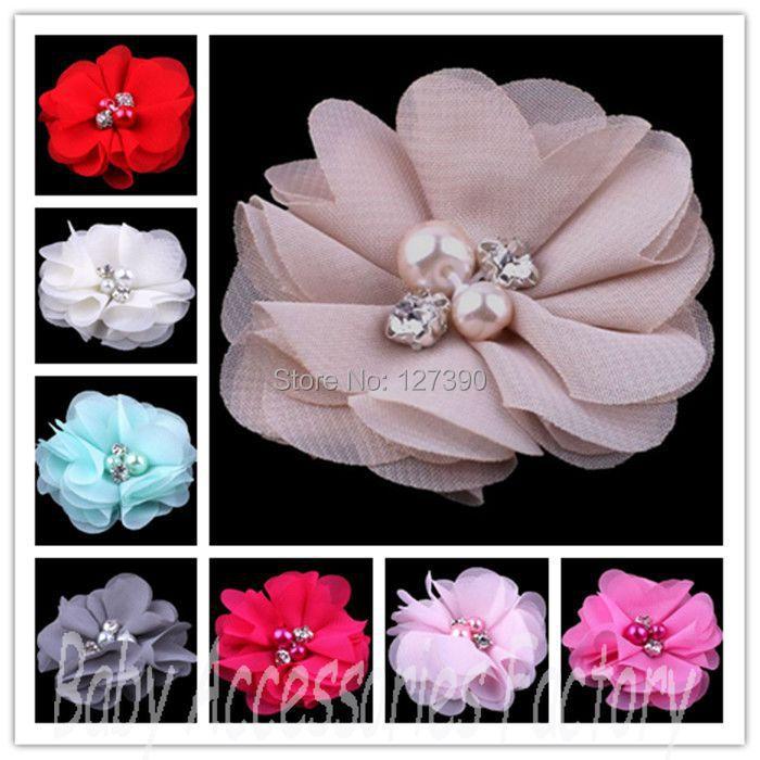 "(120pcs/lot)2"" 20 Colors Artificial Chiffon Lace Rhinestone Flowers For Girls Wedding Dress Hair Clips Headband Flowers(China (Mainland))"