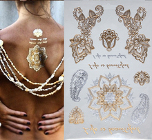 Women Body Art Glitter Tatoo Stickers Taty Fake Golden Tatoo Metallic Tatoos Temporary Tattoo Gold Flash Tattoos