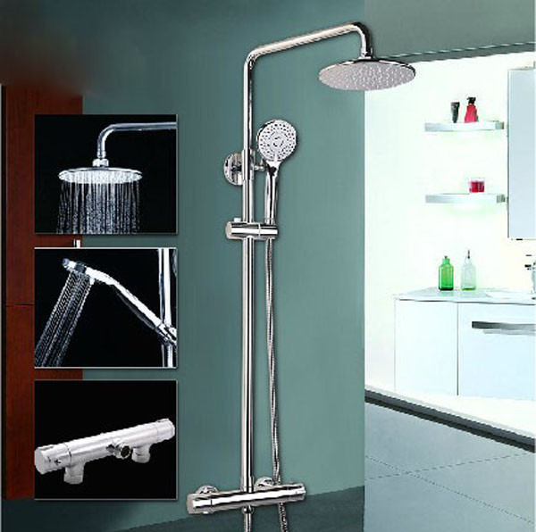 Chrome Bathroom Thermostatic Shower Set Faucet Rainfall Shower Head Mixer Tap(China (Mainland))