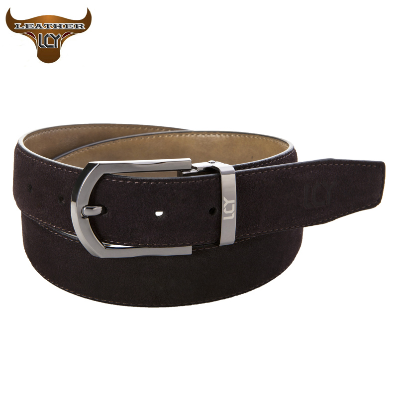 [LCY] 100% Cowhide Genuine Leather Belts for Men New Designer Belts High Quality Metal Pin Buckle Suede Leather Belt 350301(China (Mainland))
