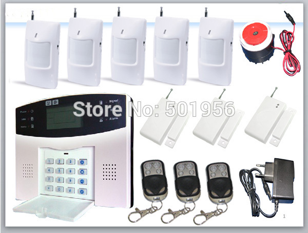 Quad band gsm alarm system lcd keyboard remote controller door sensor pir sensor(China (Mainland))