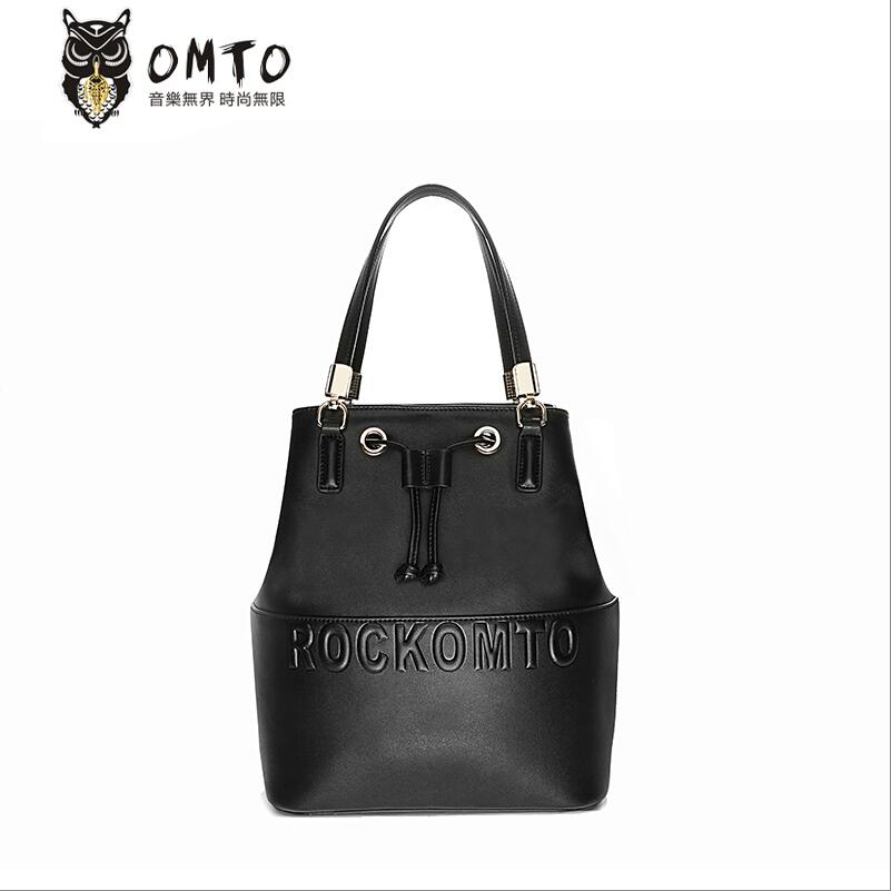2016 New brand genuine leather women bag fashion personality letters high quality women  shoulder messenger cowhide Bucket Bag<br><br>Aliexpress