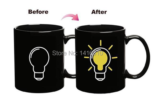 Bulb Discoloration Cup 2015 New Fashion Popular Black Ceramic Color Cup Creative Home Taza Bulb Discoloration Cup(China (Mainland))