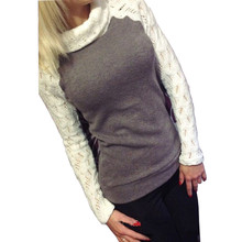 2016 European Women Fashion Sweater Autumn Winter Pullover Turtleneck Patchwork Lace Long Sleeve Jumper Knitted Tops Pull Femme(China (Mainland))