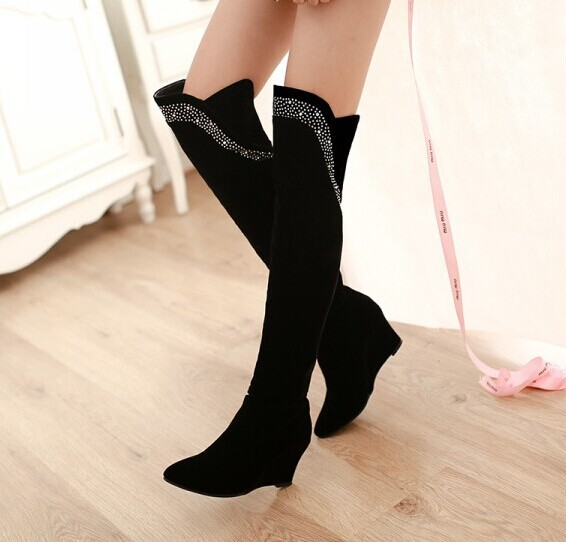Freeshipping over the knee boots for women fashion snow long rhinestone boots spring autumn winter wedges shoes motorcycle boots<br>