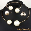 Fashion Jewelry Sets Huge Imitation Pearl Necklace and Bangle Earrings Rings Statement Women Vogue with Rhinestone