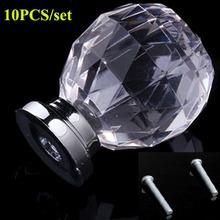 10PCS/Set Diam 30mm Round Crystal Glass Ball Design Acrylic Handle Knobs Alloy Door Drawer Cabinet Wardrobe Pull  Drop Shipping(China (Mainland))
