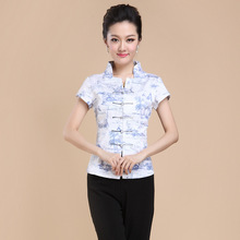 Hot Sale Summer Cotton Chinese Style Women Tang Suit Tops Blouse Vintage Traditional Chinese Shirt M L XL XXL XXXL 4XL T19