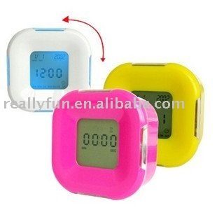 Colorful lighting alarm clock/ touch clock, multifunction square clock/ With calendar &temperature three colors 10pcs/lot
