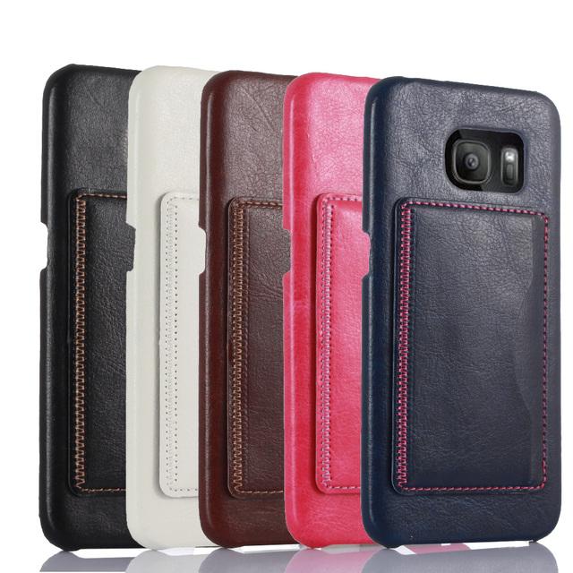 Слот для карты поддержка дизайн мода кожаный чехол для Samsung Galaxy S7 край - конец прочный 5 цвета задняя крышка