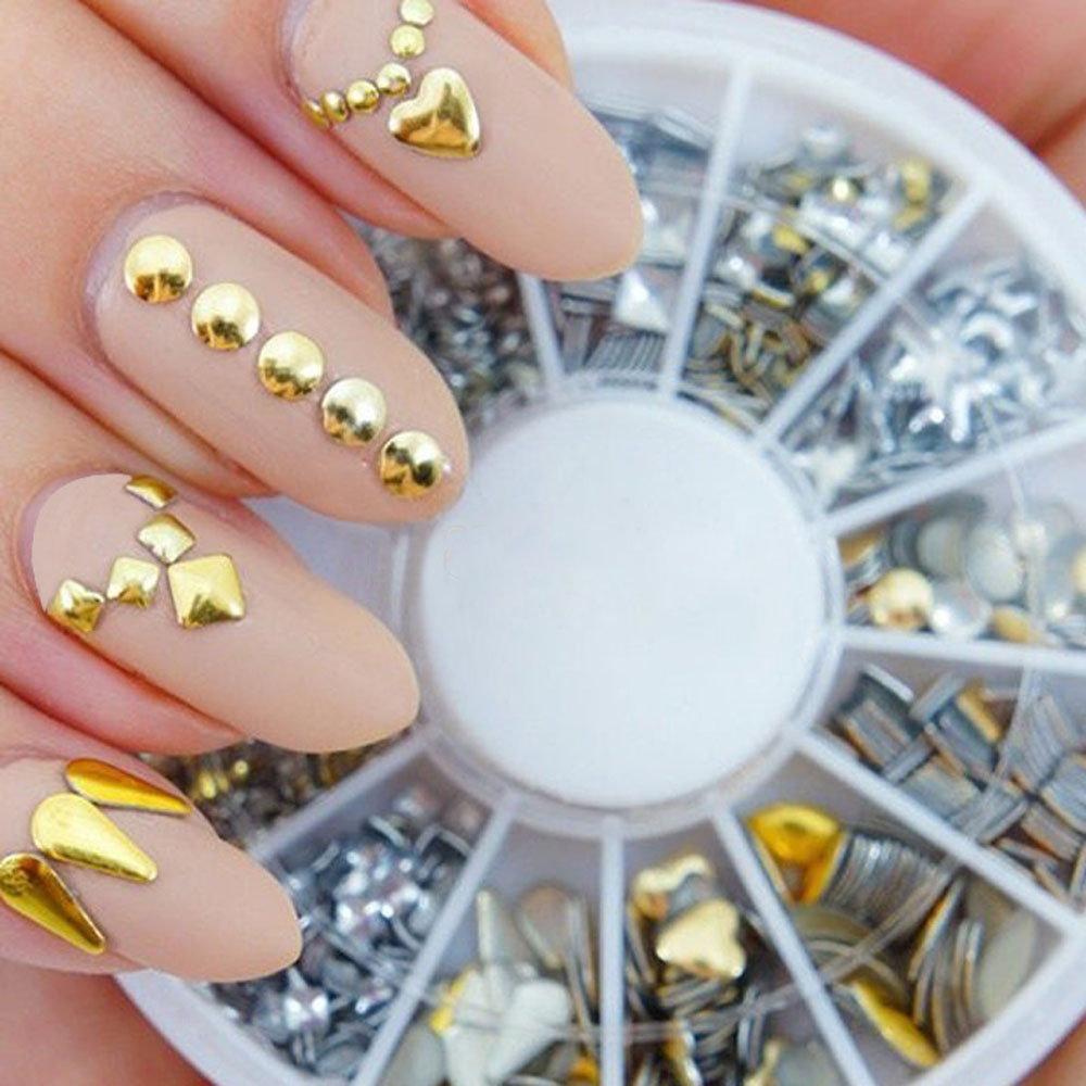 6 Styles Silver/Gold Nail Art 3D Glitter Rhinestones Gems Decoration Round Wheel(China (Mainland))