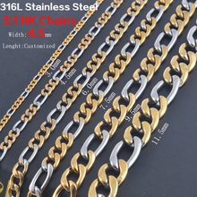 Buy Width 3.0mm/4.5mm/6mm/7.5mm Statement Stainless Steel Necklace Vintage Figaro Chains Women Gold Silver Tone Wholesale for $1.33 in AliExpress store