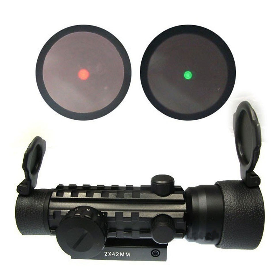 High Quality 2x42mm Red Green Dot Rifle Scope Sight With 20mm Weaver/pica Tri Rifle Troy Sights Laser Bore Sight For Hunting(China (Mainland))