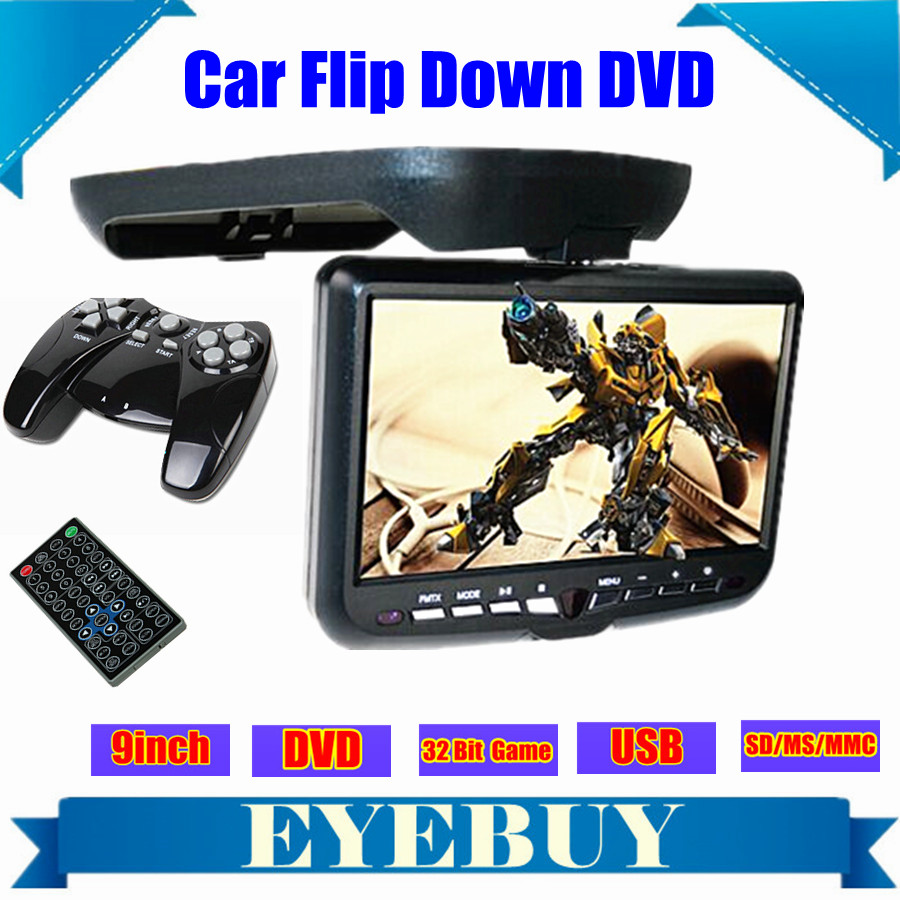 9inch LCD CAR Auto Roof Mount Flip Down Overhead automobile DVD Player Monitor screen TV USB SD IR FM game Speaker(China (Mainland))