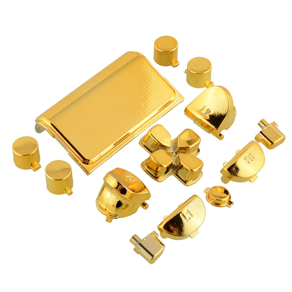 image for Fashion Full Buttons Mod Kits Set Chrome Gold For Playstation 4 PS4 Co