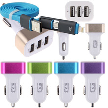 New High Quality Auto Universal 5V 2.1A Car Charger For iPhone 6S 6 5S Huawei P8 lite & Other Phones Car-charger + 2 in 1 cable