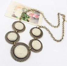 Retro exaggerated circular patchwork turquoise Rhinestone necklaces statement jewelry women prevent allergy 2 Colors(China (Mainland))