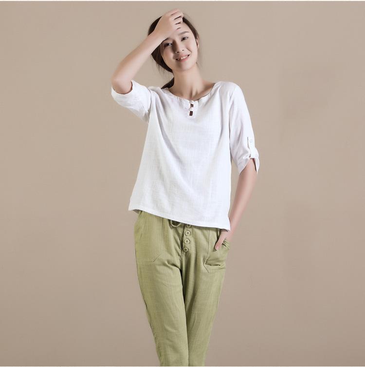 2015 new arrivals women 39 s blouses white linen blouses good for Womens linen shirts blouses