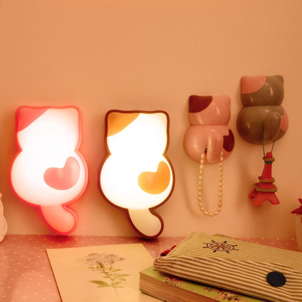 2pcs Cute Cartoon Cat Wall Sticker LED Night Light Lamp + 2pcs Wall Stcker Hook Hanger Set  E#CH<br><br>Aliexpress