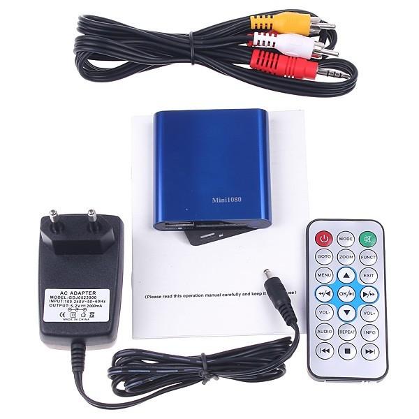 5pcs Multimedia HD 1080P Mini Media Player MKV/RM/RMVB H.264 Player Support HDMI CVBS YPbPr SD/SDHC Card(China (Mainland))