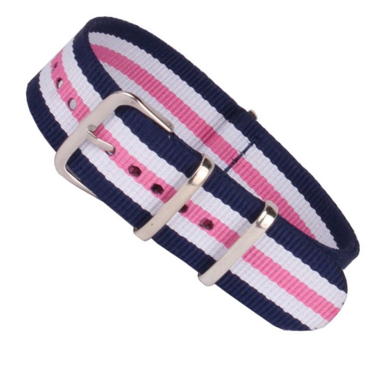 Top Quality 12mm 14mm 16mm 18mm 20mm 22mm Navy White Pink Diver 3 Keepers NATO Waterproof Nylon Strap Watch Band(China (Mainland))