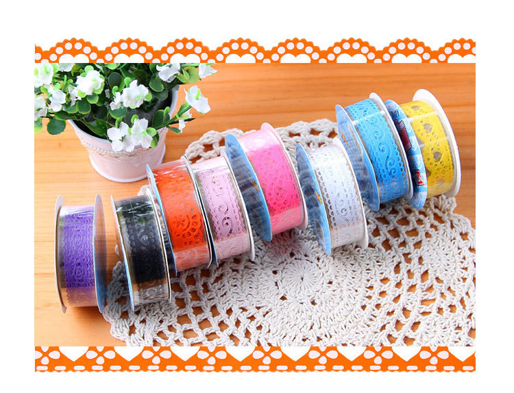 Free Shipping 5Pcs/Lot DIY Diary Hollow Decorative Stickers Lace Tape Stationery School Gift(China (Mainland))
