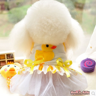 New!Adorable cartoon ducks Pet Clothes dog cat dress with pearl for summer free shipping(China (Mainland))