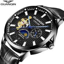 GUANQIN 2019 montre d'affaires hommes automatique horloge lumineuse hommes Tourbillon étanche mécanique montre haut marque relogio masculino(China)