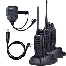 2 PCS Baofeng BF-888S Walkie Talkie 5W Handheld Pofung bf 888s UHF 400-470MHz 16CH Two-way Portable CB Radio +MIC+USB Cable(China (Mainland))