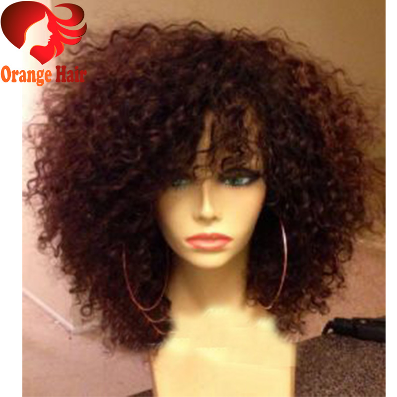 Short Afro Kinky Curly Wig Virgin Brazilian Lace Front Wig ...