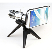 HD 12x Metal Sliver Mobile Phone Telescope Zoom Camera Lens for iPhone 4 4s 5 for Samsung Galaxy Note 2 3 With Cellphone Case