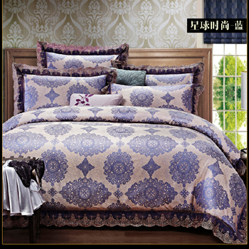 BS69 new bedding sets 4pcs complete satin Jacquard Bedding Set luxury brand cotton Duvet Cover bedding sheet pillow case set(China (Mainland))