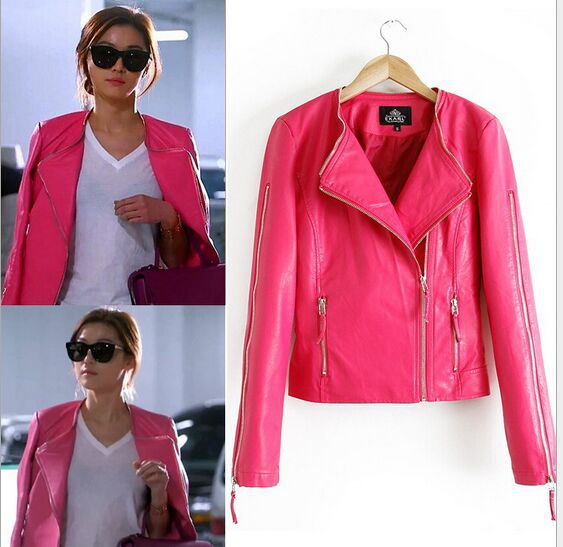Womens Pink Leather Jacket - Coat Nj