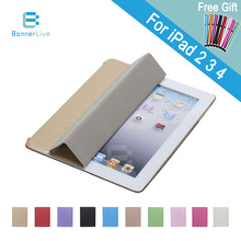 Stand Design PU Leather Case for iPad 3 4 2 Smart Cover Smartcover for iPad4 iPad3 iPad2 with Stylus Pen as Gift(China (Mainland))